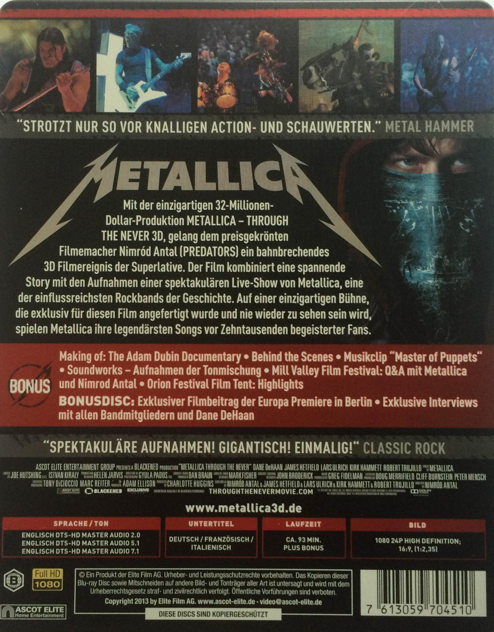 Metallica Through The Never Back